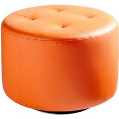 """Cylindrical swivel ottoman in leatherette.   Product: OttomanConstruction Material: Steel and leatheretteColor: Orange and chromeFeatures:  Tufted designSwivel base Dimensions: 17.25"""" H x 25.75"""" Diameter"""