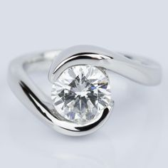 Would you say YES to this beautiful recently purchased Bypass Style Half Bezel Diamond Engagement Ring in Platinum?