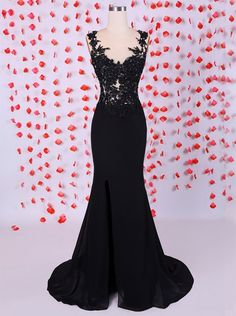 Buy Simple Mermaid Scoop Chiffon Long Black Evening/Prom Dress With Appliques Special Occasion Dresses under $144.99 only in SimpleDress.