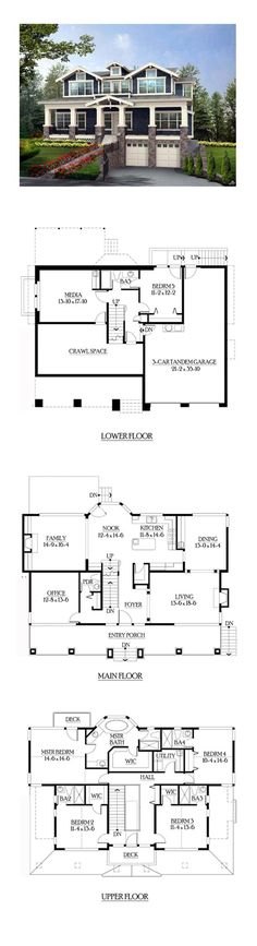 House Plan 87565 - Craftsman Style House Plan with 3737 Sq Ft, 5 Bed, 6 Bath, 3 Car Garage Sims 4 House Plans, Best House Plans, Dream House Plans, House Floor Plans, My Dream Home, Craftsman Style House Plans, Country House Plans, Craftsman Homes, Sims Building