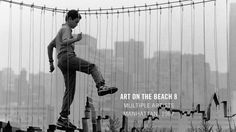 """Here's a Creative Time throwback for you. Craig Konyk and Steve Lamb's """"Bridge"""" was just one of the many installations at Art on the Beach 8 in the Battery Park City landfill. (Photograph by Thomas Griesel) Manhattan, People Poses, Installation Art, Art Installations, Beach Photos, Places To Go, Nostalgia, Skyline, Black And White"""