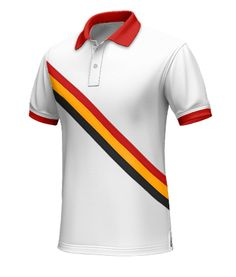 Belgium Men's Polo Shirt - Show some pride as you wear this Belgium polo shirt in support of the national team.  This white polo has a red, yellow, and black stripe diagonally across the chest. The collar and the hems are red which adds a finishing touch to this great polo.  http://www.tailor4less.com/en/collections/custom-polo-shirts/world-cup-polo-collection/belgium-mens-polo-shirt