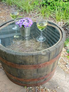 Backyard Half-Barrel Table DIY--takes less than 30 minutes to put together!