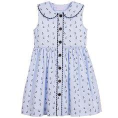Rachel Riley Girls Blue Cotton Anchor Dress  at Childrensalon.com