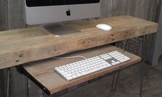 """Modern Industrial small desk  48"""" x 11.5"""" w x 30"""" tall with keyboard tray with free shipping - No Locker Basket. $425.00, via Etsy. we can add vintage crates or locker baskets"""