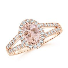 Angara Oval Morganite Bypass Ring with Trio Diamond Accents I3KL0JKIr