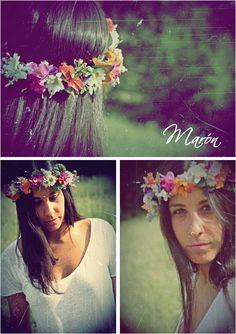 tocado corona de flores - de boda con Maron