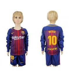 Barcelona Blank Home Long Sleeves Kid Soccer Club Jersey Messi 10, Lionel Messi, Messi Shirt, Barcelona 2016, Jordi Alba, Dani Alves, Junior Shirts, Kids Soccer, Neymar Jr