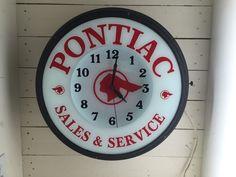 Vintage Antique Pontiac Sales & Service Dealer Advertising NEON Clock *RARE*