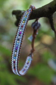 PERIWINKLE RAINBOW Single Wrap Beaded by ColorLightCreations