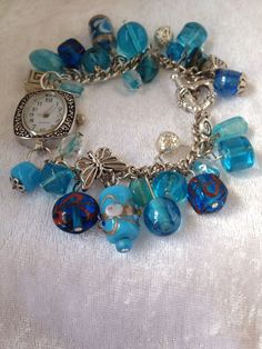 Gorgeous blue bracelet watch by Glitzy Pixie