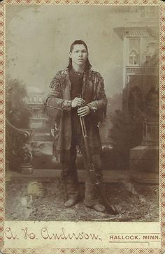 Antique Cabinet Card Photo Native American Indian Rifle Hallock Minnesota Mohawk | eBay