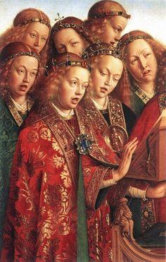 Hermanos Van Eyck. Ángeles cantores, políptico del Cordero Místico.  Catedral de san Bavón, Gante.