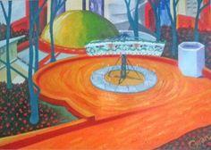 Planetario Distrital Óleo sobre lienzo 25cm * 35cm 2014 Furniture, Home Decor, Oil On Canvas, Canvases, Pintura, Decoration Home, Room Decor, Home Furnishings, Home Interior Design