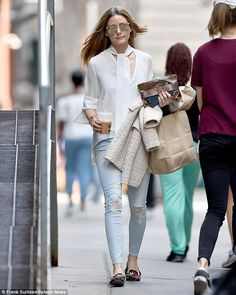 Keeping it casual: Olivia Palermo proved she can do off-duty chic just as well as high-fashion glamour as she got her Easter caffeine fix in Brooklyn, New York City, on April 16, 2017