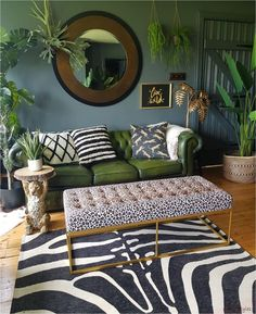 donwpipe walls, green leather chesterfield sofa leopard print bench zebra rug and plants -interiors inspiration for lovers of dark scandi boho Creative, Colourful Living Spaces to Increase Productivity. Stylish Home Decor, Diy Home Decor, Green Home Decor, Green Wall Decor, Green Decoration, Interior Design Living Room, Living Room Designs, Interior Design Plants, Bohemian Interior Design