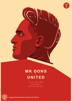 Match poster. MK Dons vs Manchester United, 26 August 2014. Designed by @manutd.
