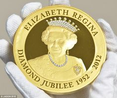 Encrusted with over 100 diamonds & valued at £125,000 the 24k Gold Kilo Coin was created to mark Queen Elizabeth's Diamond Jubilee & is a product of the East East India Company, which was first granted a Royal Charter by Queen Elizabeth I in 1600. The coin fits into the palm of the hand & is made from pure gold & contains no trace of any other metal. Each one represents over 1,000 hours of craftsmanship.  It features a portrait of the Queen with a tiara, necklace & brooch highlighted with 2…