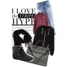 Check/stripe by hijablove101, via Polyvore