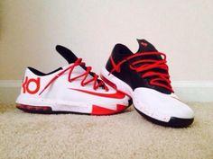 Shoes: red black white kevin durants 6 kds kds 6 kd kevin durant