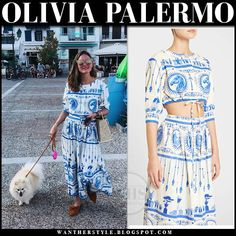 Olivia Palermo in white and blue printed top and midi skirt Olivia Palermo Style, Style Summer, Royal Fashion, Holiday Fashion, Beautiful Celebrities, Going Out, Celebrity Style, Midi Skirt, Casual Outfits