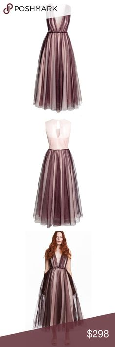 🆕 H&M Conscious Exclusive Tulle Gown 🆕 CONSCIOUS EXCLUSIVE. Sleeveless, ankle-length in several layers of plum tulle made from polyester. Seam at waist with adjustable band, opening at back of neck with hook & eye fastener. Concealed size zip, lined. 100% polyester, dry clean only. NEW WITH TAGS, NEVER WORN. Side zip looks slightly stressed at top from another customer trying on the garment, but no damage or flaws. SOLD OUT on hm.com H&M Dresses Wedding