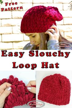 Learn how to knit/ crochet the Easy Slouchy Loop Hat with your hands with this free knitting/ crochet pattern plus video tutorial. loop Easy Slouchy Loop Hat - Free Pattern using Loop Yarn Finger Crochet, Easy Crochet, Free Crochet, Crochet Hats, Tutorial Crochet, Knit Crochet, Hat Tutorial, Blanket Crochet, Crochet Beanie
