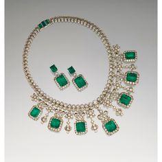 Emerald and diamond demi-parure | lot | Sotheby's