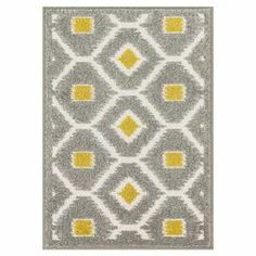 Indoor/outdoor rug with an ikat motif.   Product: RugConstruction Material: PolypropyleneColor: Grey and citronFeatures:  Suitable for indoor or outdoor useMade in Egypt Note: Please be aware that actual colors may vary from those shown on your screen. Accent rugs may also not show the entire pattern that the corresponding area rugs have.