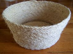 Rope basket The tutorial is here:  http://www.bystephanielynn.com/2011/02/make-your-own-natural-fiber-sisal-rope.html