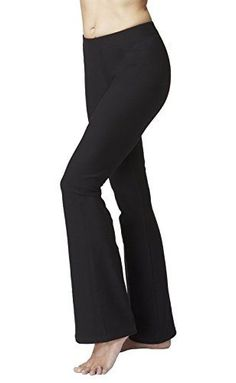 Womens Slimming Shaping Bootcut Bootleg Yoga Pants Black RegM * Click image to review more details.