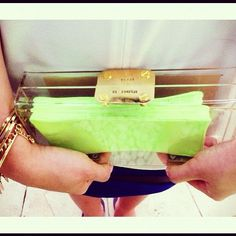 dope clutch. too pricey tho.  GOLD/SILVER Clear Personalised Perspex Acrylic Clutch Classic. $85.00, via Etsy.