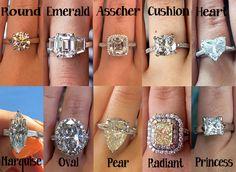 round cut diamond, emerald cut diamond, asscher cut diamond, cushion cut diamond, pear cut diamond, heart shape diamond, oval cut diamond, pear cut diamond