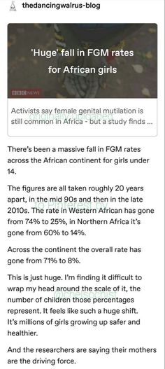 FGM, -It's good to see the rate has fallen so much, but it's not over until every single girl is safe from this, until not even one has to endure FGM Faith In Humanity Restored, Intersectional Feminism, The More You Know, Patriarchy, Social Issues, Oppression, Social Justice, Things To Know, Historia
