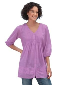 Woman Within Plus Size Trapeze Pintucked Tunic