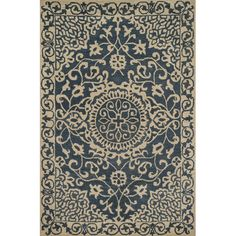 Featuring a medallion design and scrolling details, this hand-tufted wool rug brings a pop of pattern to your den or living room.Prod...