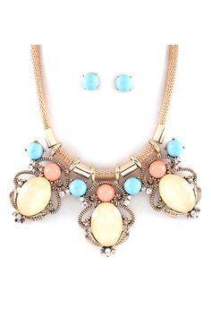Leatrice Statement Necklace in Lemondrop on Emma Stine Limited