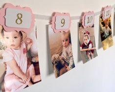 12 months photo banner. First birthday banner. by InspiredbyAlma