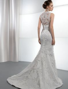 Enter to win this high, sheer lace back wedding gown from Demetrios! Click the image for details! #giveaways