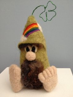 Green Irish waldorf style needle felted gnome by ConspiracyofLove, $20.00