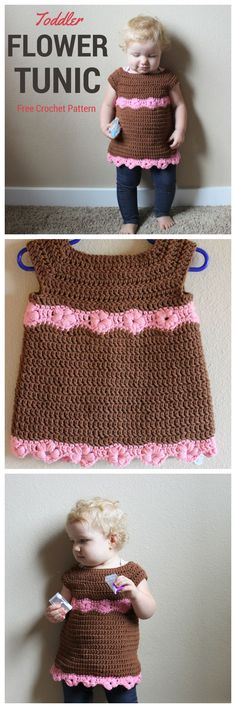 Toddler Flower Tunic - A Free Crochet Pattern. Crochet a little shirt for your favorite toddler! The puff stitch flowers make a sweet little accent to this shirt.