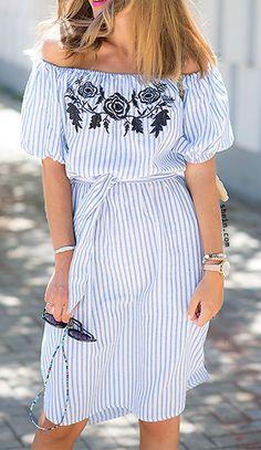 Blue vertical striped off the shoulder embroidered dress.