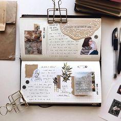 Midori Traveler's notebook planner spread by ig Bullet Journal Notebook, Bullet Journal Inspo, Bullet Journal Spread, Bullet Journal Aesthetic, Creative Journal, Scrapbook Journal, Art Journal Inspiration, Travelers Notebook, Journal Pages