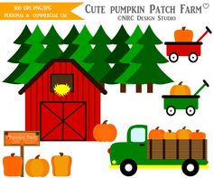 Country Fall Clip Art - Cute Pumpkin Patch Farm Clip Art - Instant Download Digital Clipart