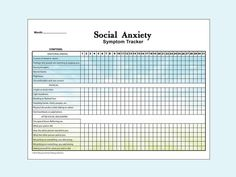 This monthly social anxiety tracker lists: Do I Have Anxiety, Anxiety Help, Controlling Anxiety, Mental Health Journal, Mental And Emotional Health, Social Anxiety Symptoms, Psychological Symptoms, Journaling, Psicologia