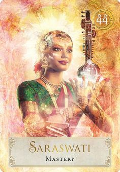 Let this global creatively non-traditional Oracle open your heart and mind to a new empowered vision of you. Divine Goddess, Goddess Art, Saraswati Goddess, Shiva Shakti, Japanese Goddess, Oracle Tarot, Affirmation Cards, Angel Cards, Divine Feminine