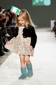 From the Petite Parade/Vogue Bambini Fall 2012 Fashion Show: Snopea's delicate floral dress and shrug. Milk carton not included. www.snopeawear.com