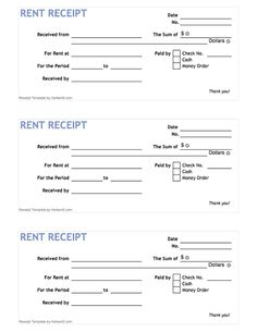 Free printable Rent Receipt Form (PDF) from Vertex42.com