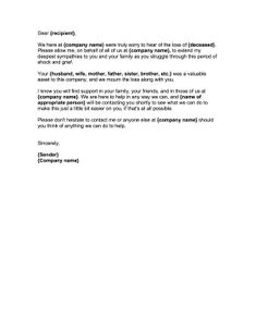 business sympathy letter the exception of a business