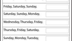 Days of the Week – Worksheet / FREE Printable Worksheets – Worksheetfun Color Worksheets For Preschool, First Grade Worksheets, Free Kindergarten Worksheets, Kindergarten Learning, Free Printable Worksheets, Teaching Reading, Free Printables, Tracing Worksheets, Teaching English Grammar